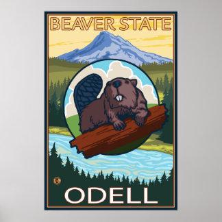 Castor y capilla del Mt. - Odell, Oregon Póster