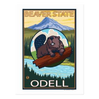 Castor y capilla del Mt. - Odell, Oregon Tarjeta Postal