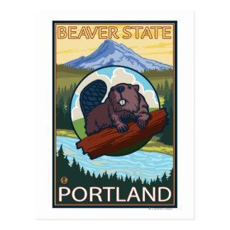Castor y capilla del Mt. - Portland, Oregon Tarjeta Postal