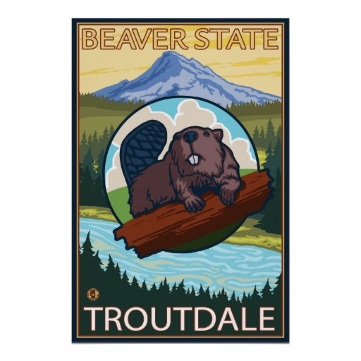 Castor y capilla del Mt. - Troutdale, Oregon Posters