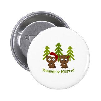¡Castor-y feliz! Castores del navidad Pin Redondo De 2 Pulgadas