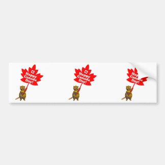 Castor y hoja de arce del día de Canadá Pegatina De Parachoque