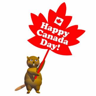 Castor y hoja de arce del día de Canadá Fotoescultura Vertical