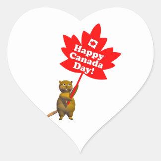 Castor y hoja de arce del día de Canadá Pegatina En Forma De Corazón