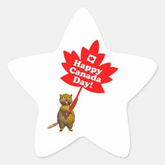 Castor y hoja de arce del día de Canadá Pegatina En Forma De Estrella