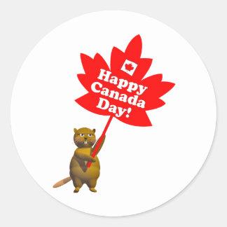 Castor y hoja de arce del día de Canadá Pegatina Redonda