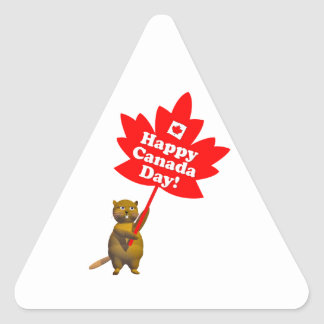 Castor y hoja de arce del día de Canadá Pegatina Triangular