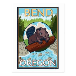 Castor y río - curva, Oregon Postal