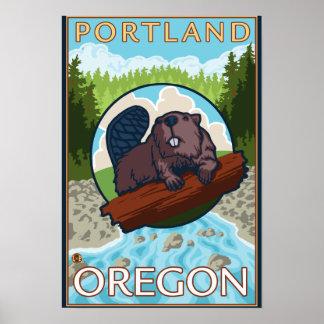 Castor y río - Portland, Oregon Póster