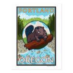 Castor y río - Portland, Oregon Tarjeta Postal