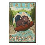 Castor y río - Salem, Oregon Impresiones En Madera