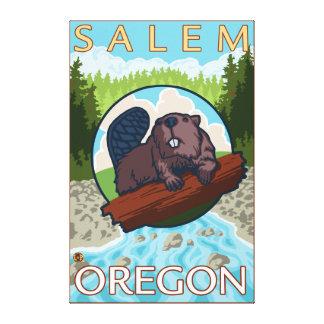 Castor y río - Salem, Oregon Impresión En Lienzo Estirada