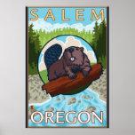 Castor y río - Salem, Oregon Póster