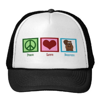 Castores del amor de la paz gorros