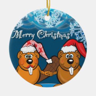 castores del navidad adorno navideño redondo de cerámica