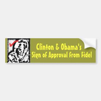 castrosealofapproval, Clinton y Obama, muestra o… Pegatina Para Auto