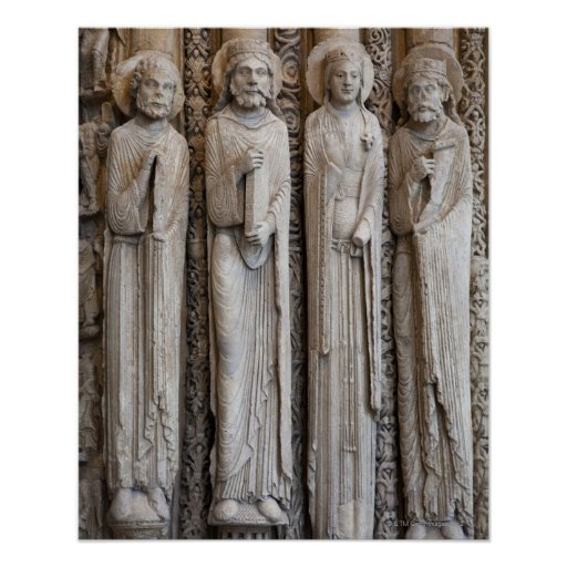 casts of statues from the facade of Chartres Poster