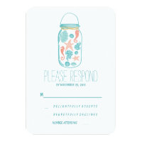 Casual beach mason jar wedding RSVP Card