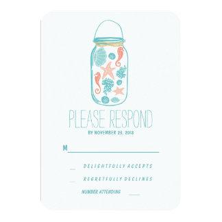 Casual beach mason jar wedding RSVP Custom Invite