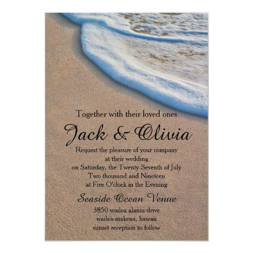 Casual Beach Sand Sea Foam Wedding Card