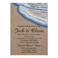 Casual Beach Sand Sea Foam Wedding Invitation