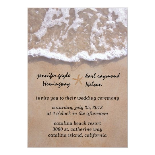 Casual beach theme wedding invitation zazzlecom for Free wedding invitation samples zazzle