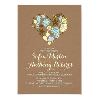 casual beach wedding invitation & sea heart