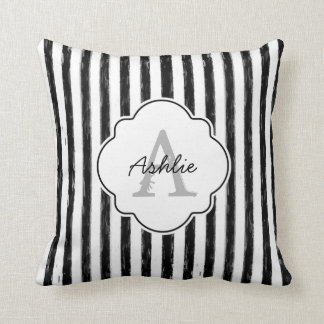 Casual Black Painted Stripes Monogram and Name Throw Pillow
