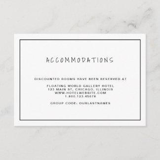 Casual Black & White Wedding Accommodations Enclosure Card