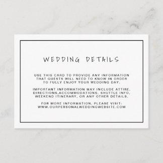 Casual Black & White Wedding Details Enclosure Card