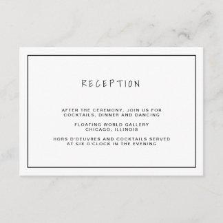 Casual Black & White Wedding Reception Enclosure Card
