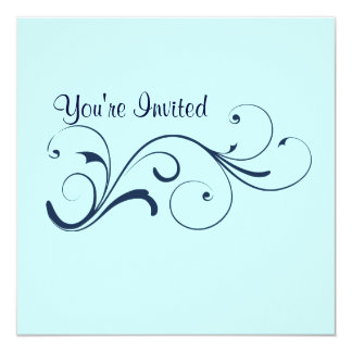 Casual Blue Swirl Invitation