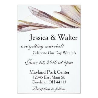 Casual Brown Sheer Fabric Wedding Invitation