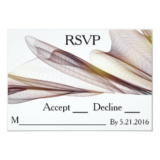 Casual Brown Sheer Fabric Wedding RSVP Cards