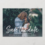 "Casual Brush | Photo Save the Date<br><div class=""desc"">A modern save the date card featuring ""save the date"" in a fresh and casual handwritten typography style that evokes the look of a brush marker. Designed to accommodate your favorite horizontal or landscape oriented full-bleed engagement photo, this chic card features a white text overlay with your names, wedding date...</div>"