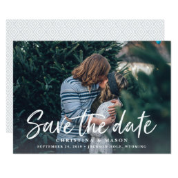 Casual Brush   Photo Save the Date Card