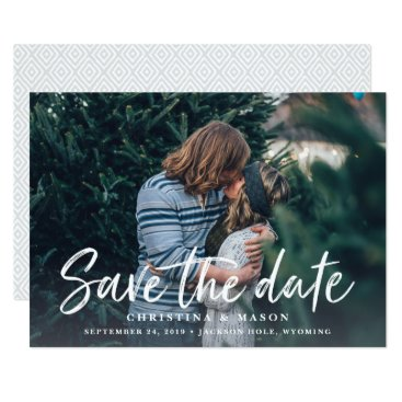 RedwoodAndVine Casual Brush | Photo Save the Date Card