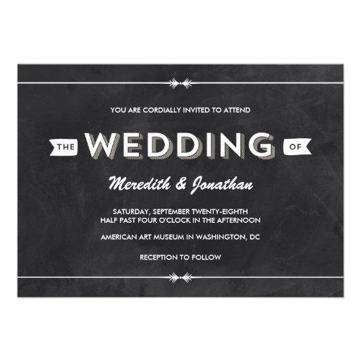Casual Chalkboard Wedding Personalized Invitation