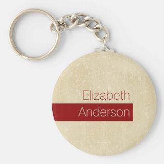 Casual Chic Beige and Red Simple Grunge With Name Keychain