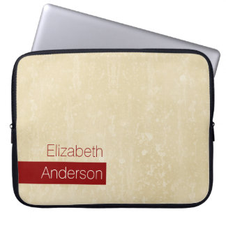 Casual Chic Beige and Red Simple Grunge With Name Laptop Computer Sleeves