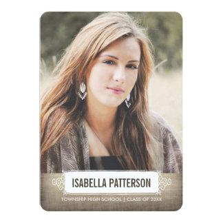 """Casual Chic Girl Photo Graduation Invitation 5"""" X 7"""" Invitation Card"""