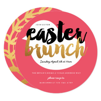 Casual Chick Easter Brunch with Gold and Black Card
