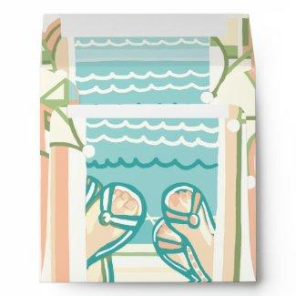 Casual & Colorful Beach Flip Flops Invite Envelope envelope