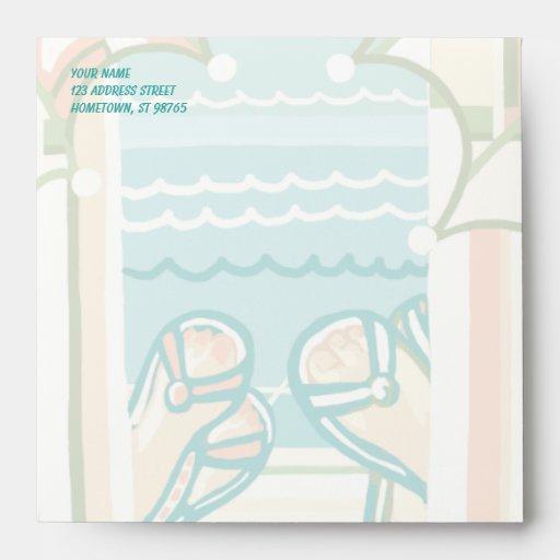Casual & Colorful Beach Flip Flops Invite Envelope