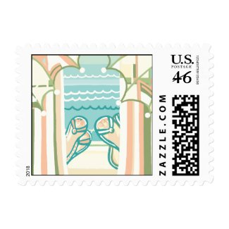 Casual & Colorful Beach Flip Flops Postage stamp