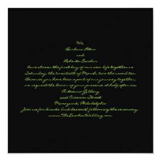 """Casual contemporary black and green leaves 5.25"""" square invitation card"""