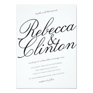 "Casual Elegance Black Script White Wedding 5"" X 7"" Invitation Card"