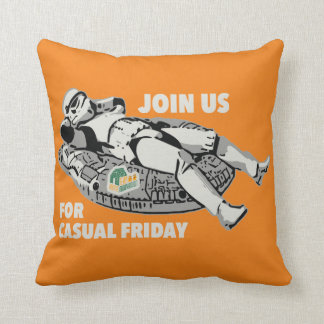 Casual Friday Pillow on Orange