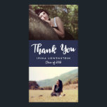 """Casual Graduate Two Photo Thank You Navy Blue Card<br><div class=""""desc"""">Casual Graduate Two Photo Thank You Navy Blue</div>"""