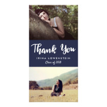 Casual Graduate Two Photo Thank You Navy Blue Card